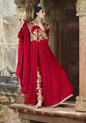 Long designer party wear heavy embroidery suits floor length,Red,Georgette