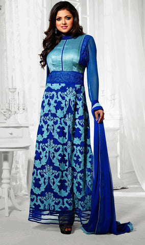 lace work suits,fabric : georgette,dupatta :chiffon,color : blue
