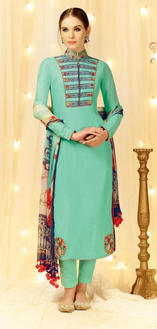 Blue,Cotton Satin,Straight designer party wear suits