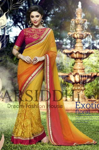 Saree Orange , yellow,Soft net,inner santoon,blouse : Chiffon georgette