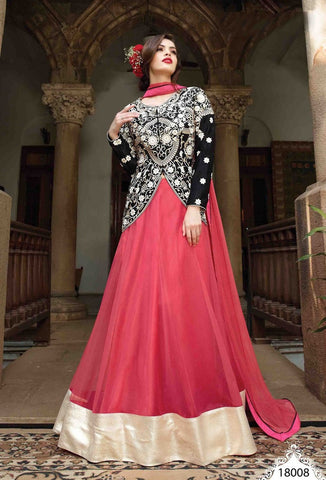 Pink and black long floor length designer lehenga style suits with heavy embroidery