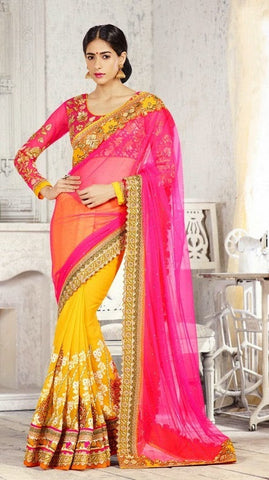 saree Pink&Yellow,Pink