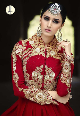 Designer Partywear Red Anarkali Suit for Wedding and Reception