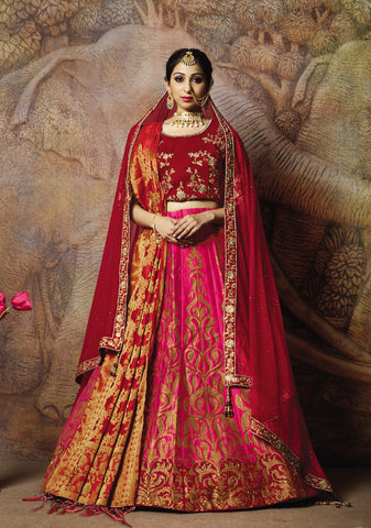 Pink Silk Party Wear Lehenga With Red Choli