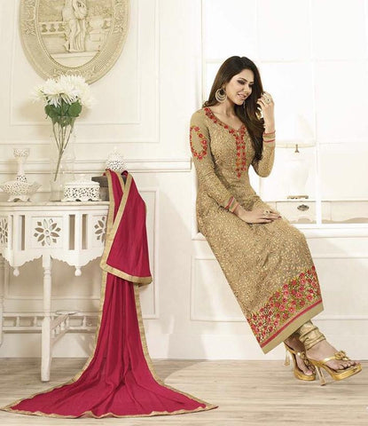 Beige,Georgette,Designer straight long knee length suits
