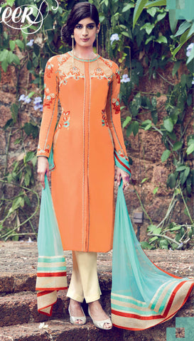 Orange,Cotton satin,Designer straight party wear salwar suits