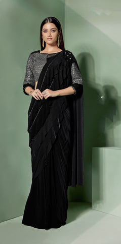 Black Lycra Party Wear Saree With Black Blouse