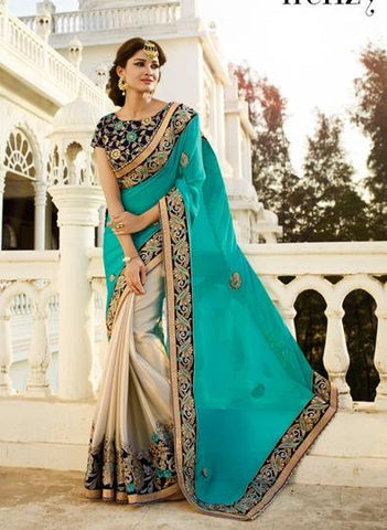 Blue , white,Chiffon,Heavy party wear bridal designer saree