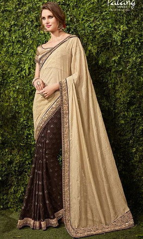 Brown , Beige,Brasso,Party wear heavy designer saree