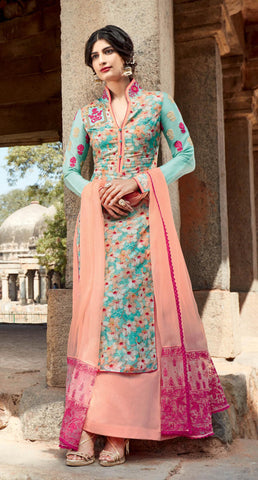 Blue , Peach,cotton,Straight designer party wear suits