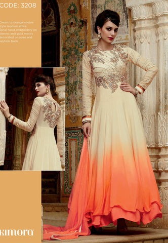 Beige , Orange,Chiffon,Anarkali designer party wear suits