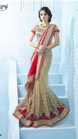 Red , Beige ,Net,Heavy designer party wear saree with designer blouse