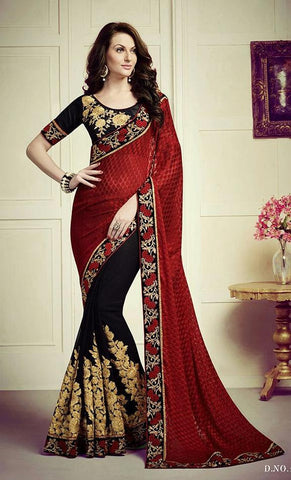 Red , Black,Georgette,Heavy designer partywear saree