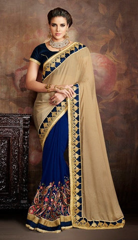 Beige , Blue,georgette,Party wear designer saree