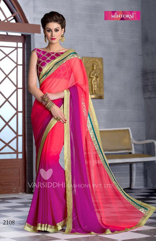 Pink , Purple,Georgette,Designer party wear saree
