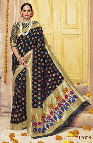 Black,Silk,Banarsi silk saree