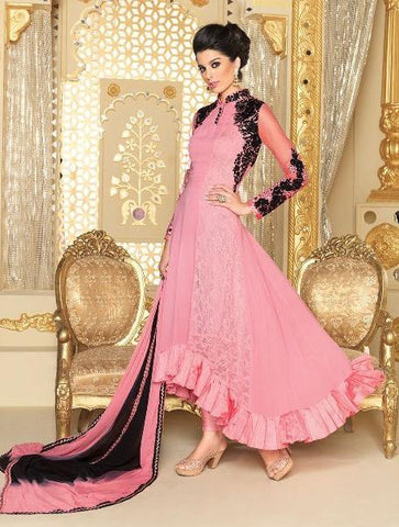 Pink , Black,Georgette,Heavy designer party wear styles suits