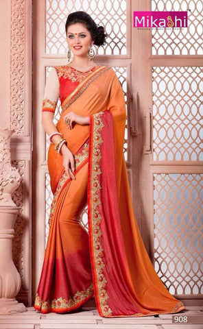 Orange , Red,Georgette,Party wear designer saree