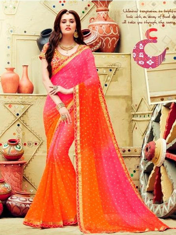 orange , pink,Silk,Party wear designer saree with designer blouse