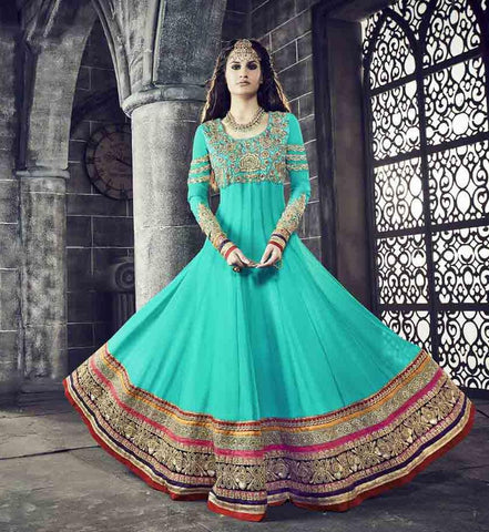 Aqua,Georgette,Heavy party wear designer ananarkali suits