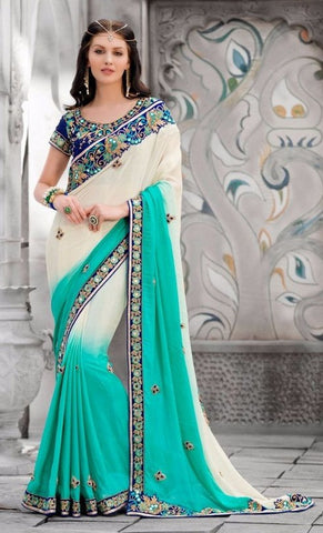 Cream , Cyan,Georgette,Heavy designer party wear saree