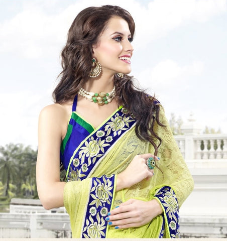Green Jacquard Net Saree with embroidery and handwork