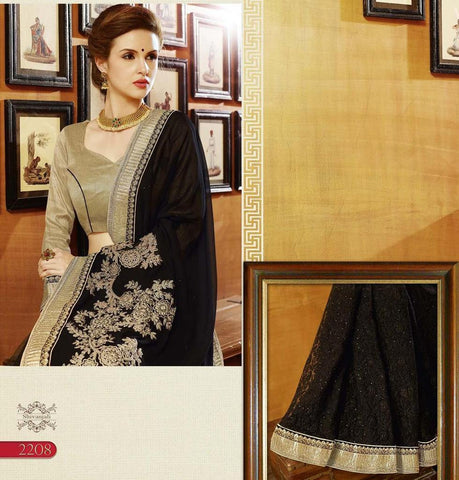 Designer Black Georgette Saree With Embroidery Work