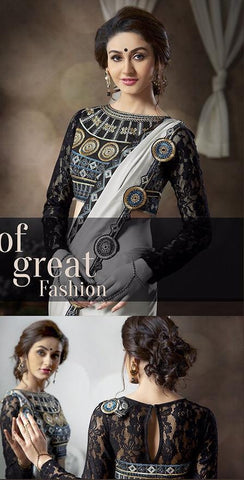 Offwhite and black satin saree with net blouse
