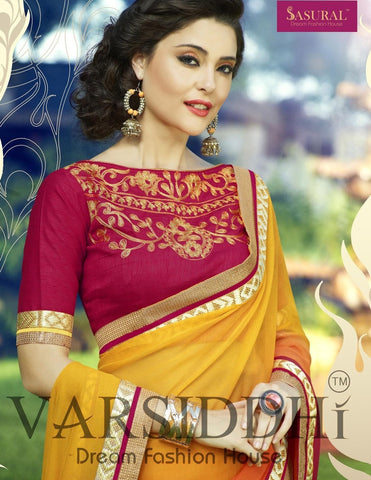 Yellow and orange half shaded saree along with red designer blouse