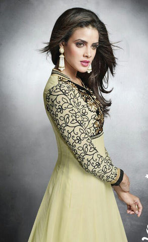 Heavy embroidered designer cream and black long floor length anarkali suits