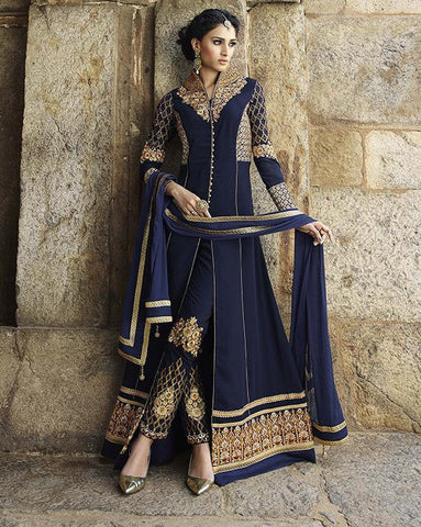 Long salwar Suits with fusion designer for wedding and Designer blue anarkali suits for engagement, wedding and reception Combo Offer