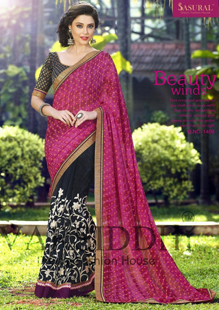 Pink and black designer net saree