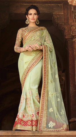 Pista green,Art silk,Heavy bridal wedding saree with heavy embroidery blouse
