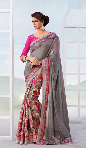 Saree : Georgette , Silk ,Grey,pink
