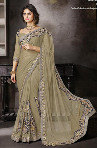 Beige,Net ,Heavy embrodiery designer saree with designer blouse