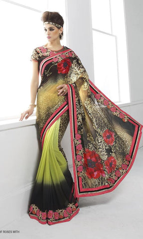 Black,Faux Georgette , Net,Designer party wear saree with designer blouse
