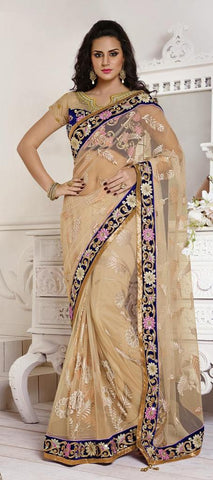 Violet , Fuchsia Pink,Net , Satin,Designer wedding saree with heavy embroidery work