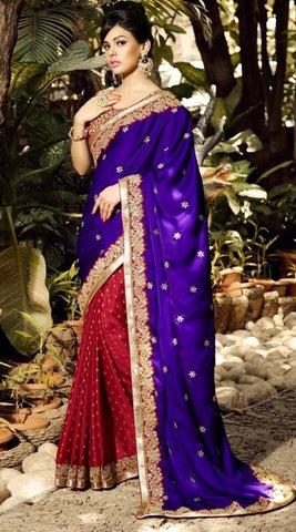 Saree Purple & red,Viscose