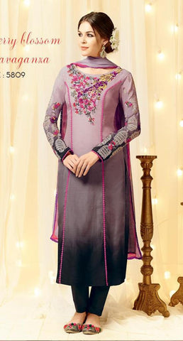 Purple,Cotton Satin,Straight designer party wear suits