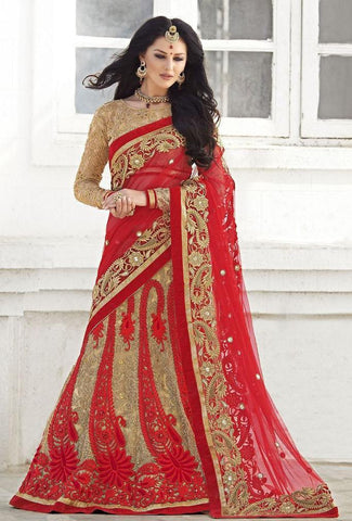 Red,Net,Heavy bridal wedding saree with heavy embroidery blouse