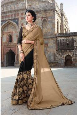 Beige , Black,Chiffon,Heavy designer party wear saree