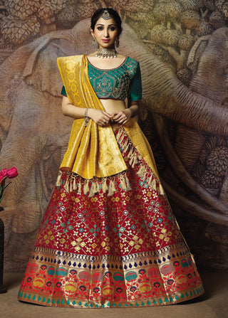 Red Silk Party Wear Lehenga With Teal Green Choli