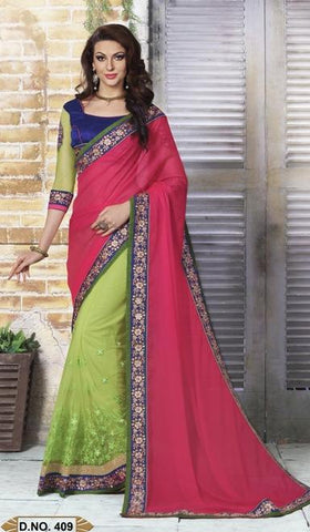 Red , Green,Georgette,Party wear designer saree