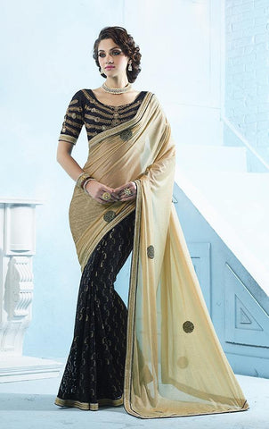 Beige , Black,Brasso,Heavy designer party wear saree with designer blouse