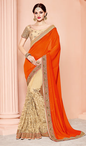 Orange , Beige,Silk,Designer party wear saree