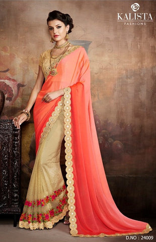 Peach , Beige,Chiffon,Party wear designer saree