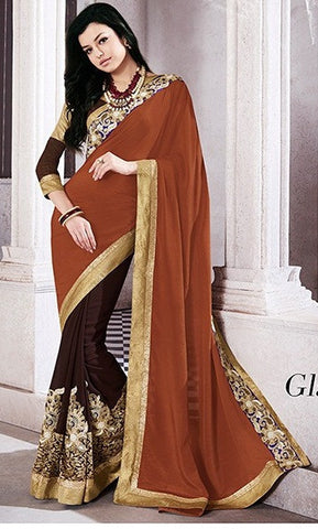 Brown,Georgette,Chinon,Party wear designer heavy saree