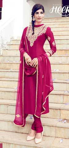 magenta,Cotton satin,Designer straight party wear salwar suits