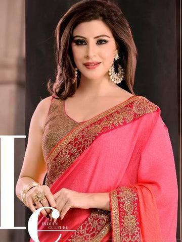 Pink and beige half crepe and georgette saree with zari and embroidery