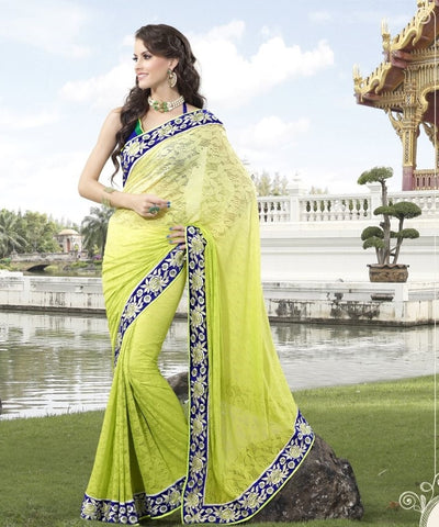 Green blue jacquard Net saree  with hand work and embroidery